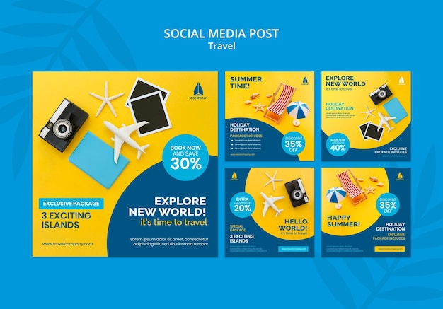 Collection de publications instagram pour les voyages de vacances