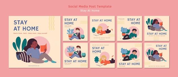 Collection de publications instagram avec rester à la maison pendant la pandémie