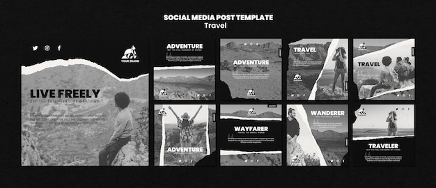 Collection de publications instagram de voyage