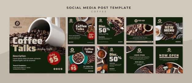 Collection de publications de médias sociaux sur le café