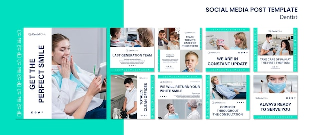 Collection de publications sur les médias sociaux de dentiste