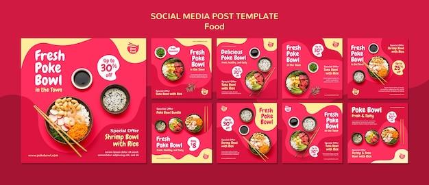 Collection de publications sur les médias sociaux de poke bowl frais