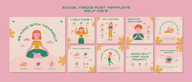 Collection de publications sur les médias sociaux sur les soins personnels