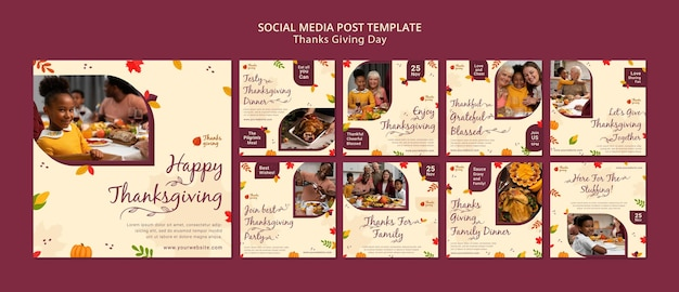 Collection de publications sur les réseaux sociaux d'action de grâces d'automne