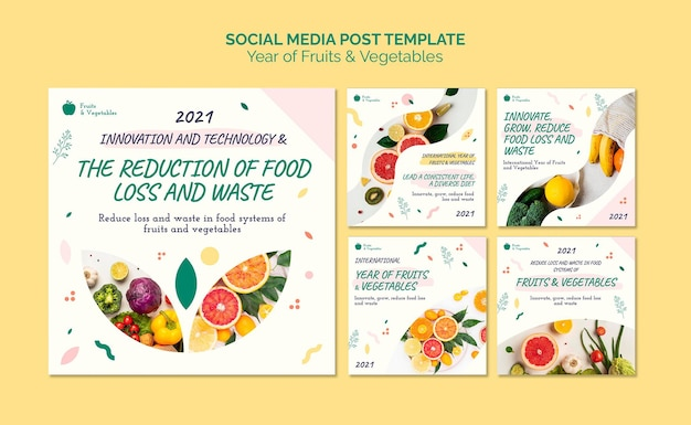 Collection de publications sur les réseaux sociaux année des fruits et légumes