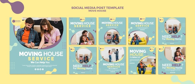 Collection de publications sur les réseaux sociaux de déménagement