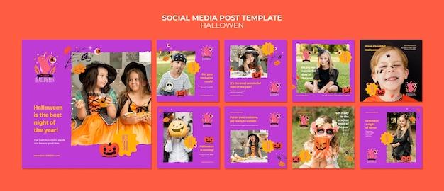 Collection de publications sur les réseaux sociaux d'halloween