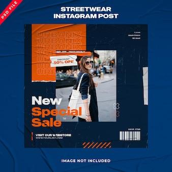 Collection de publications sur les réseaux sociaux d'histoires de mode urbaine sur instagram