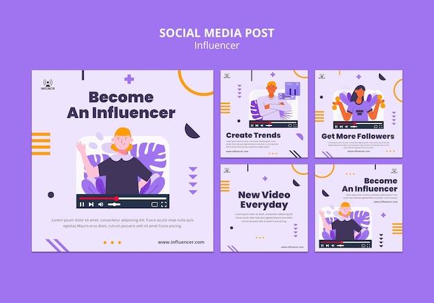 Collection de publications sur les réseaux sociaux d'influenceurs