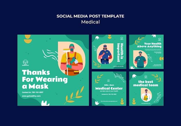 Collection de publications sur les réseaux sociaux médicaux