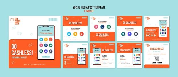 Collection de publications sur les réseaux sociaux sur le portefeuille électronique