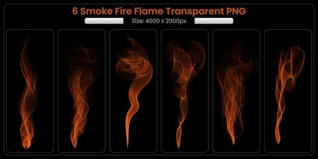 Collection transparente de flamme de feu de fumée sur fond noir