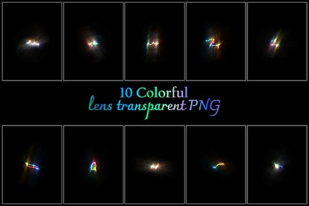 Collection transparente de lentilles colorées