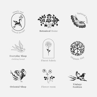 Collection vintage de modèle psd de logo de marque biologique