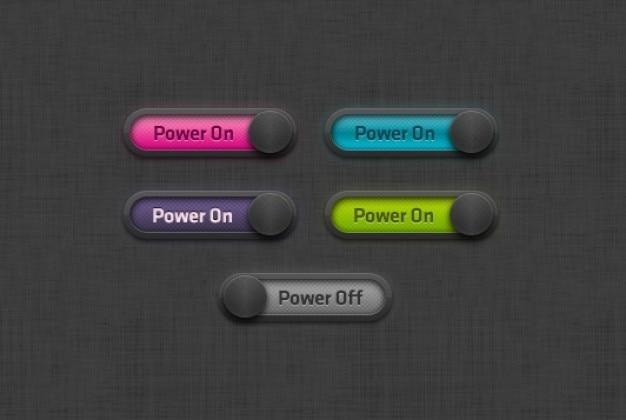 Coloré boutons on et off