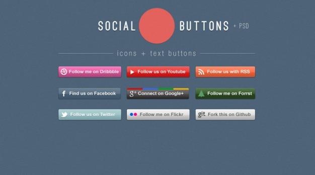 Colorés réseau icônes de boutons sociaux