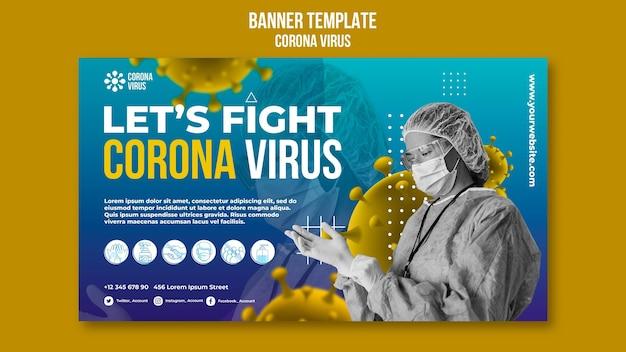 Combattre le modèle de bannière de coronavirus