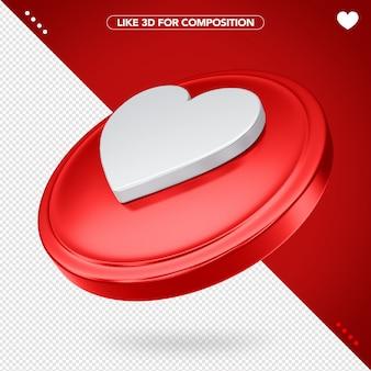 Comme facebook rouge en 3d avec coeur