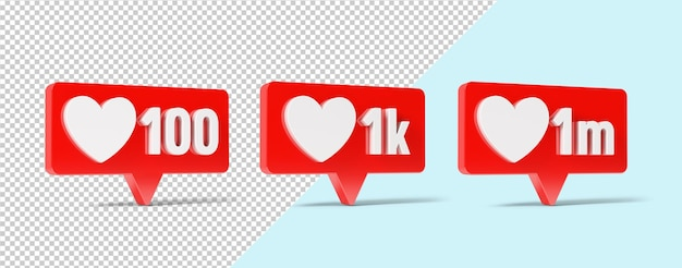 Comme l'icône de notification de médias sociaux de maquette avec le symbole du coeur