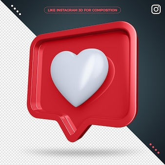 Comme instagram isolé dans le rendu 3d