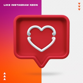 Comme instagram neon isolated