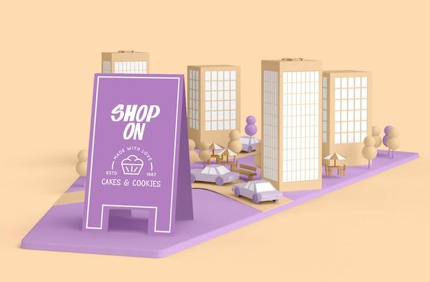 Commercial extérieur avec commerces