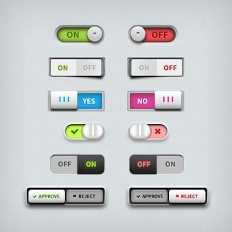 Commutateurs et des boutons colorés curseurs