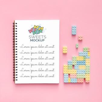 Composition de bonbons sucrés avec maquette