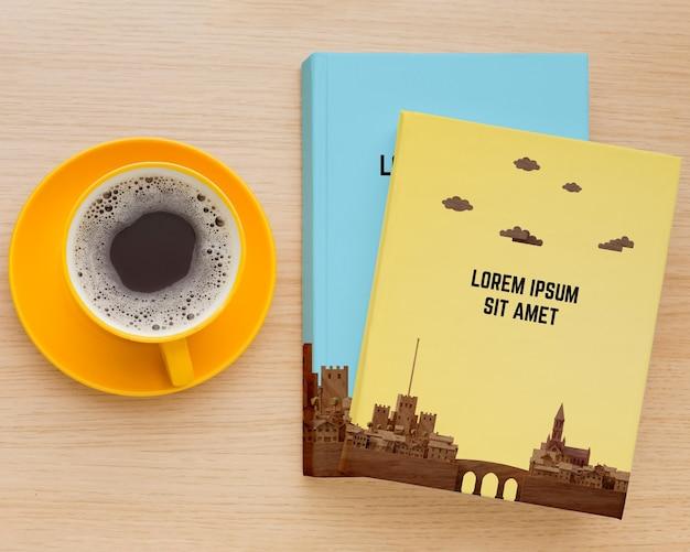 Composition de la couverture du livre sur fond de bois
