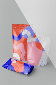 Composition de doypack maquette colorée