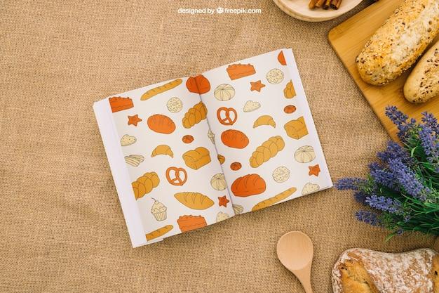 Composition du livre avec petit-déjeuner sain