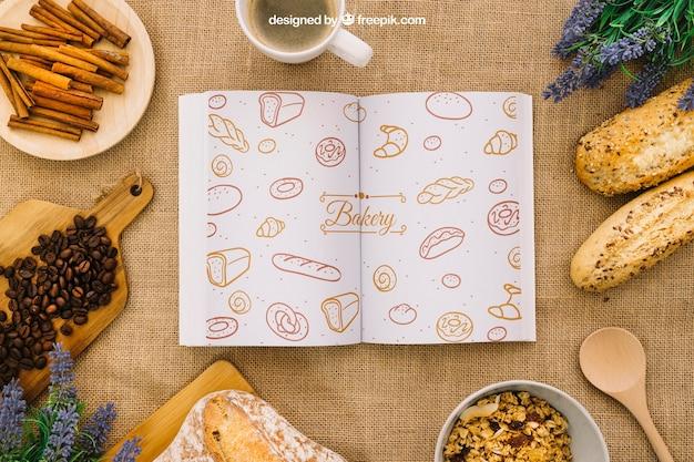 Composition du livre avec petit-déjeuner