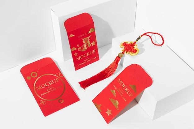 Composition des éléments de maquette du nouvel an chinois