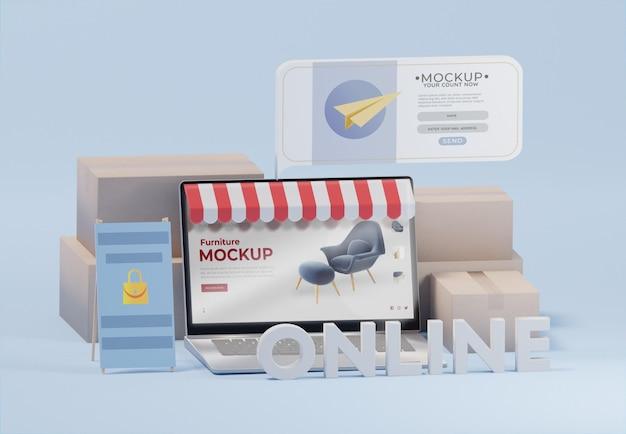 Composition d'entreprise créative avec maquette d'ordinateur portable