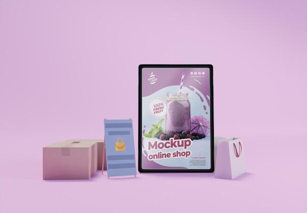Composition d'entreprise créative avec maquette de tablette