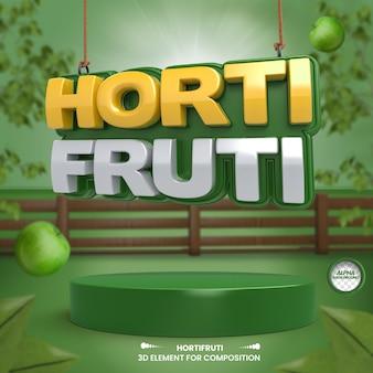 Composition d'épicerie d'étiquette 3d pour la campagne de supermarché en portugais