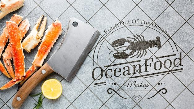 Composition de fruits de mer délicieux à plat avec maquette