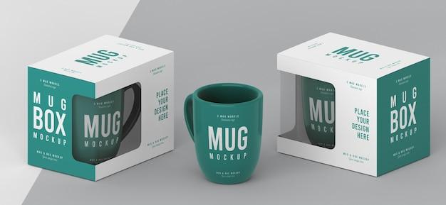 Composition de maquette de boîte à tasses