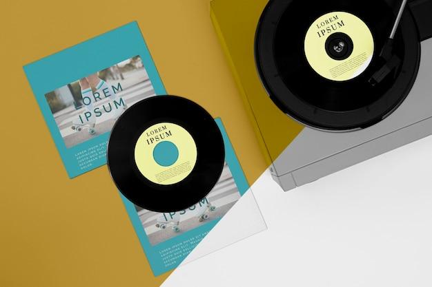 Composition de maquette de disques vinyle à plat