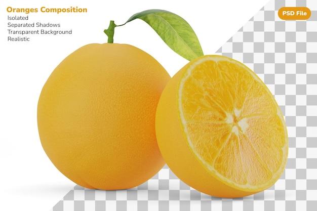 Composition de la moitié et des citrons frais d'oranges fraîches entières isolées