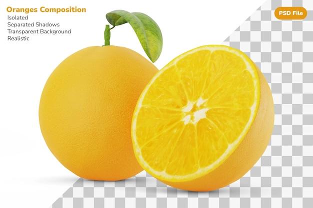 Composition de la moitié coupée et des oranges naturelles fraîches entières isolées