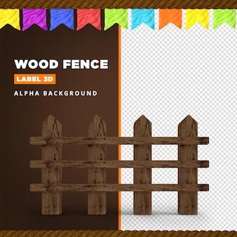 Composition de rendu 3d clôture en bois