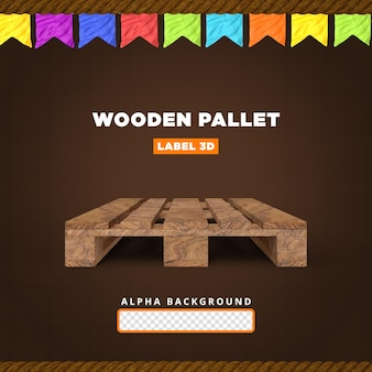 Composition de rendu 3d de palette en bois