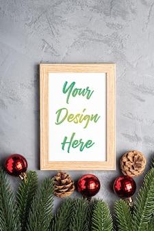 Composition de vacances de noël avec cadre photo