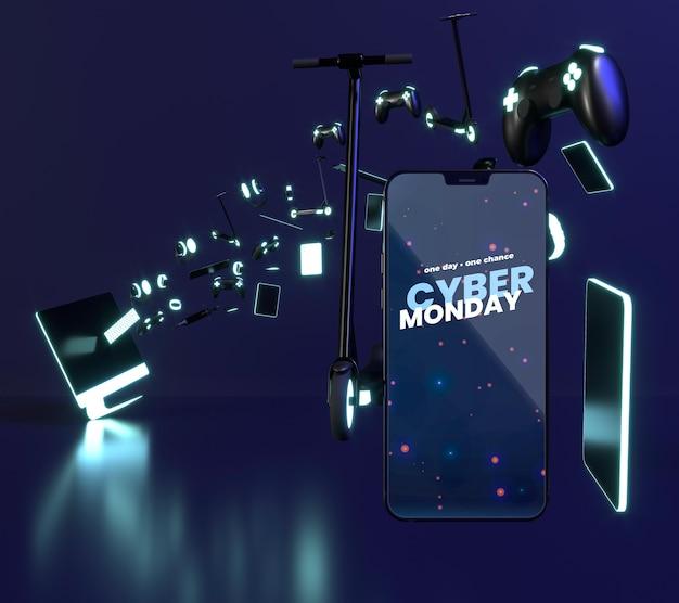 Composition de vente cyber lundi avec maquette de téléphone intelligent