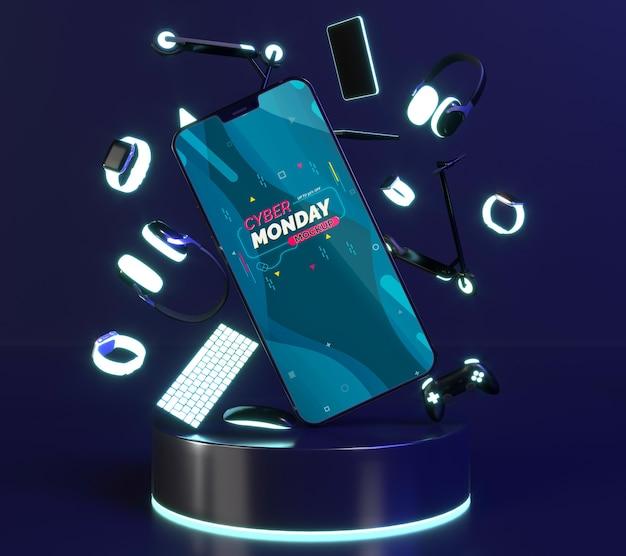 Composition de vente cyber lundi avec maquette de téléphone