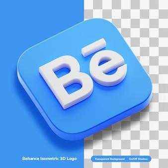 Compte d'application behance icône de concept de rendu 3d dans le coin rond carré isolé