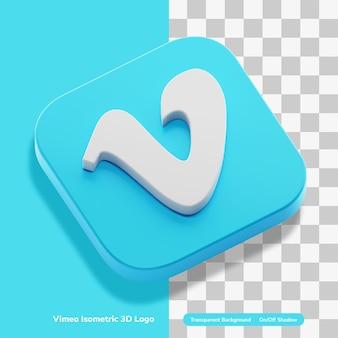 Compte de logo d'application de partage de vidéo vimeo rendu d'icône 3d en isométrique isolé