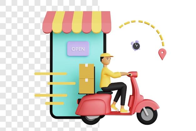 Concept 3d d'un courrier livrant le colis à la destination