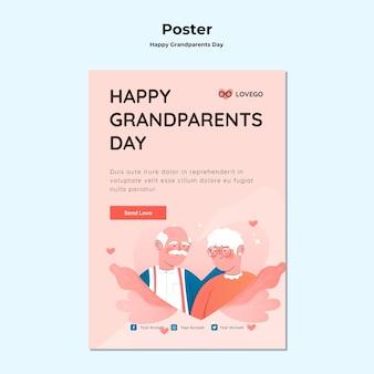 Concept d'affiche de la fête des grands-parents heureux